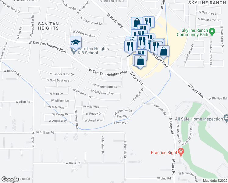 map of restaurants, bars, coffee shops, grocery stores, and more near 2076 West Gold Dust Avenue in Queen Creek