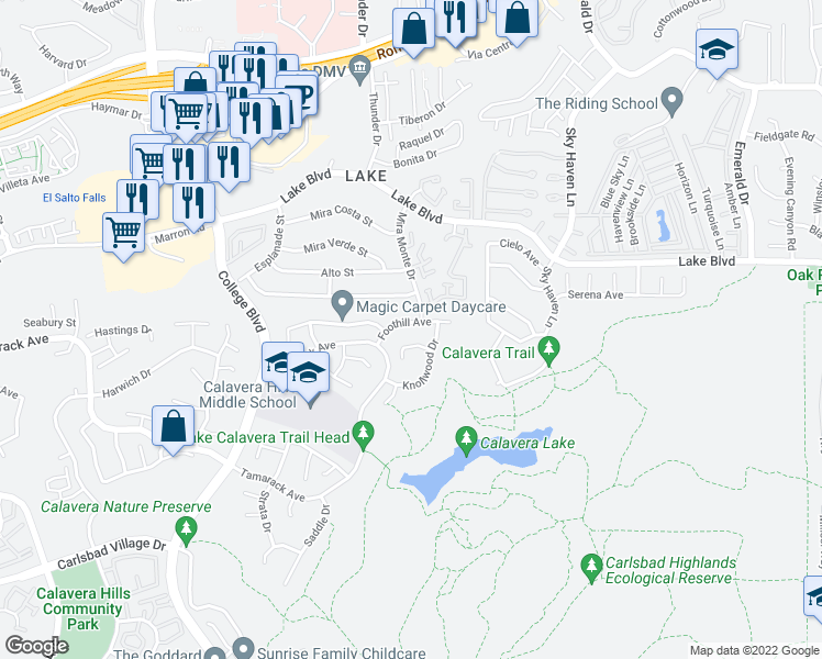map of restaurants, bars, coffee shops, grocery stores, and more near 3953 Foothill Avenue in Carlsbad