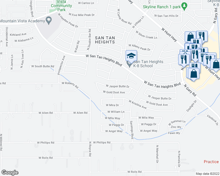 map of restaurants, bars, coffee shops, grocery stores, and more near 2851 West Jasper Butte Drive in Queen Creek
