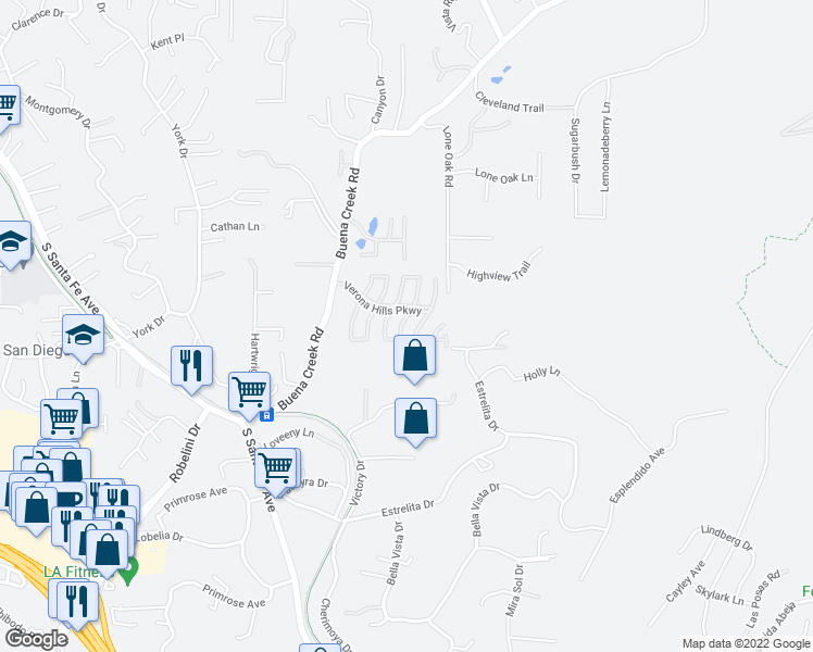 map of restaurants, bars, coffee shops, grocery stores, and more near 2114 Fiori Drive in Vista