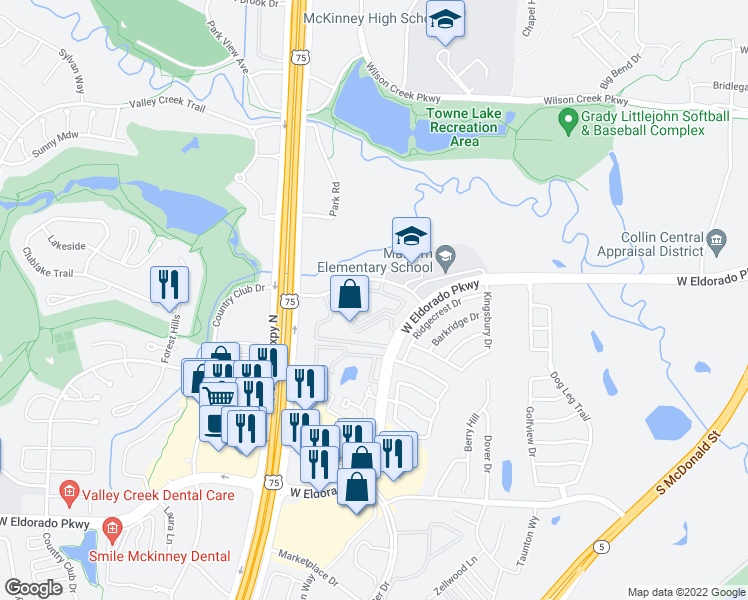 map of restaurants, bars, coffee shops, grocery stores, and more near 1701 Park Central Drive in McKinney