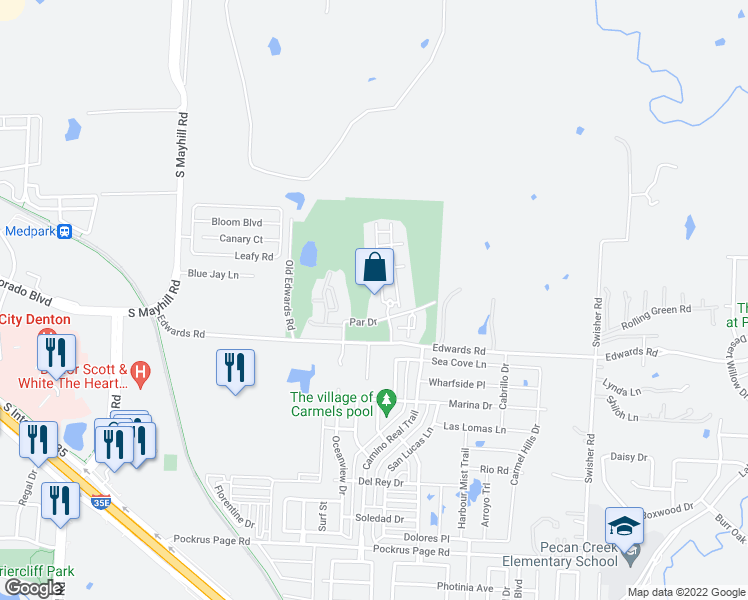 map of restaurants, bars, coffee shops, grocery stores, and more near 5201 Par Drive in Denton