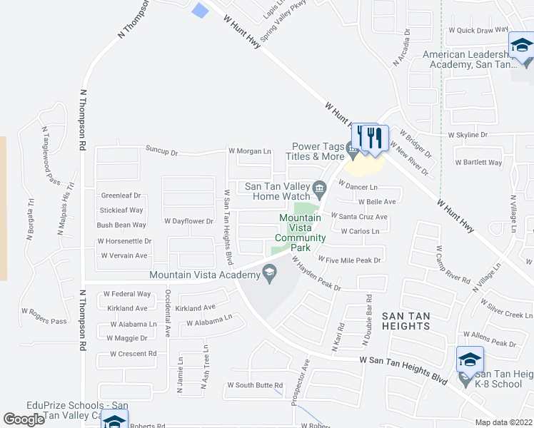 map of restaurants, bars, coffee shops, grocery stores, and more near 3717 West Santa Cruz Avenue in Queen Creek