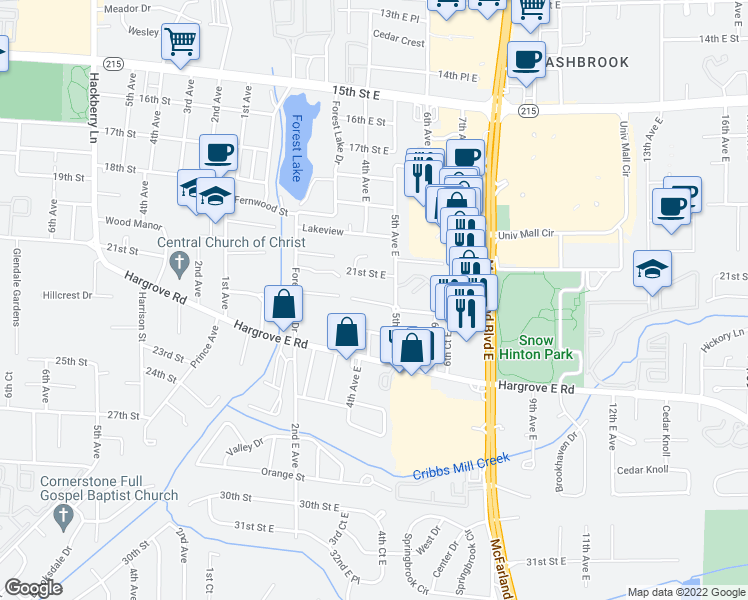 map of restaurants, bars, coffee shops, grocery stores, and more near 2300 5th Avenue East in Tuscaloosa