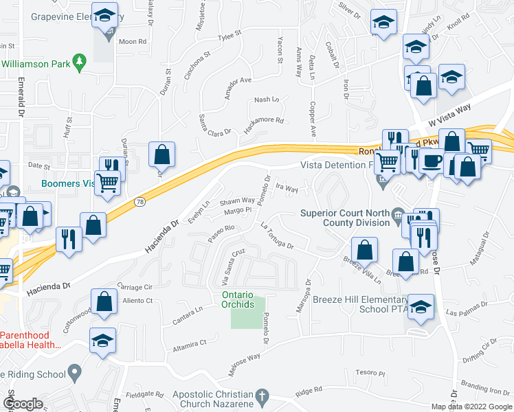 map of restaurants, bars, coffee shops, grocery stores, and more near 391-399 Pomelo Drive in Vista