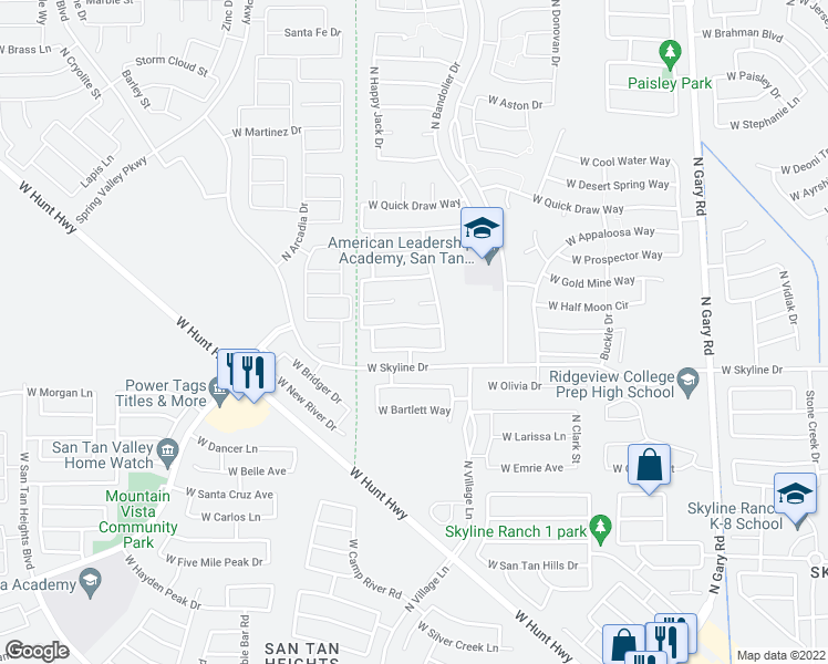 map of restaurants, bars, coffee shops, grocery stores, and more near 2521 West Sawtooth Way in Queen Creek