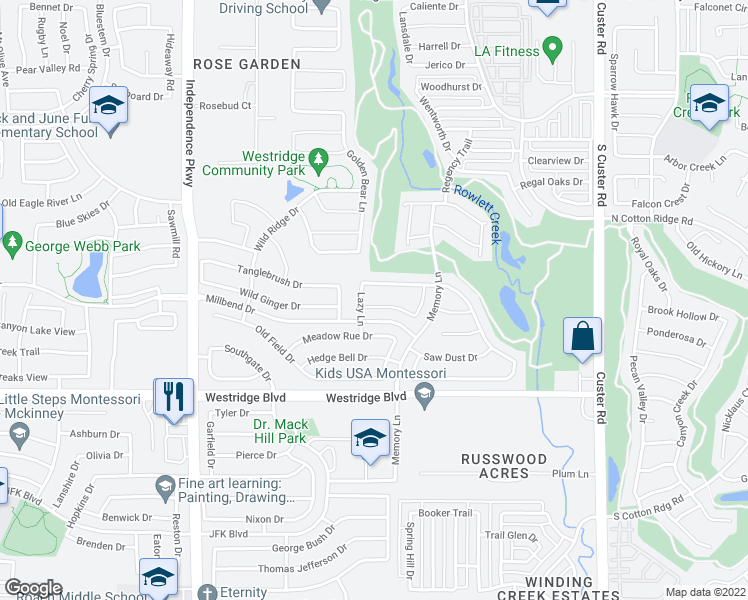 map of restaurants, bars, coffee shops, grocery stores, and more near 9728 Colonywood Drive in McKinney