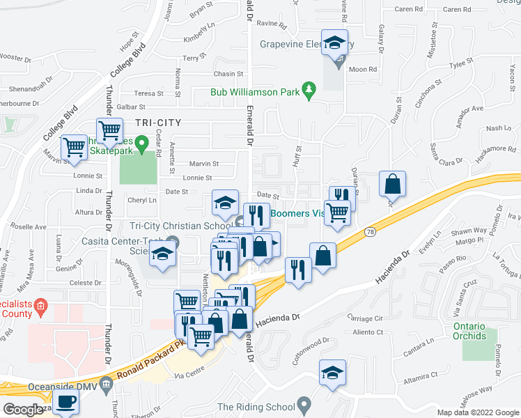 map of restaurants, bars, coffee shops, grocery stores, and more near 333 North Emerald Drive in Vista