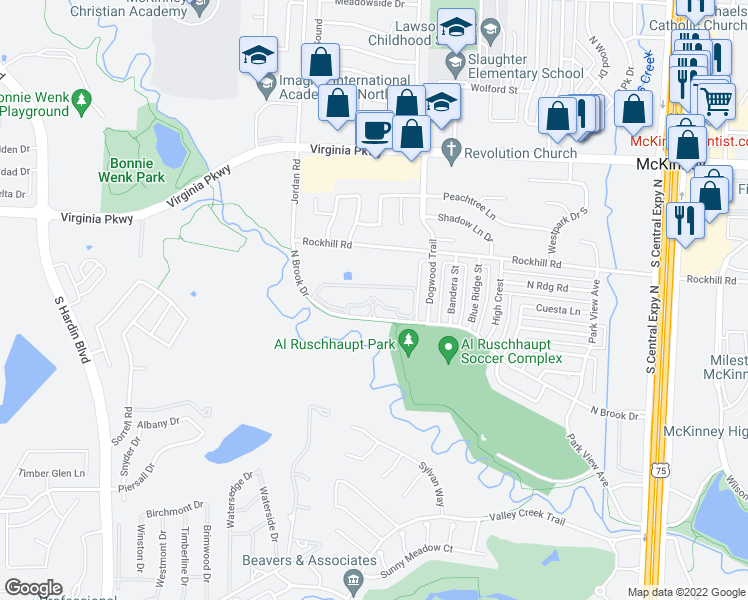 map of restaurants, bars, coffee shops, grocery stores, and more near 2700 North Brook Drive in McKinney