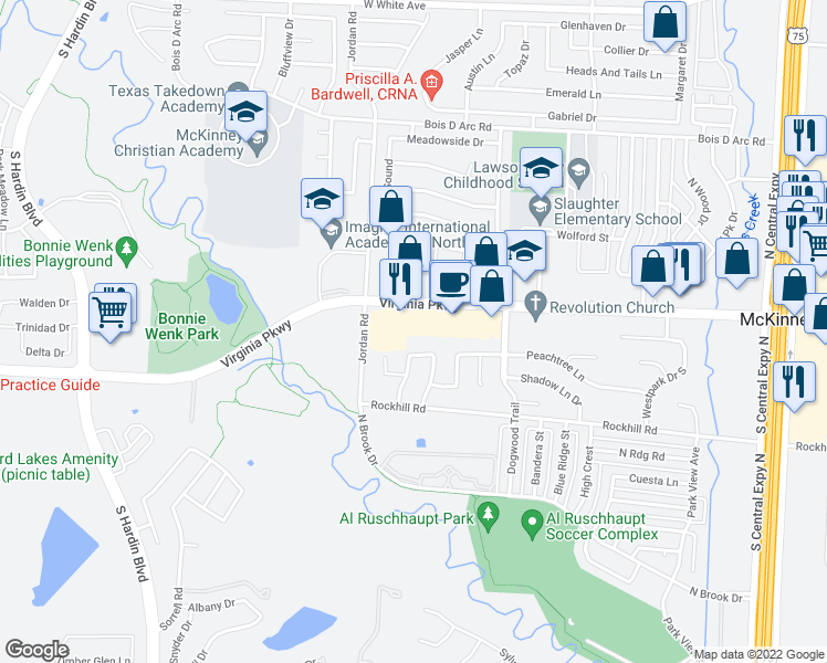 map of restaurants, bars, coffee shops, grocery stores, and more near 2781 Virginia Parkway in McKinney