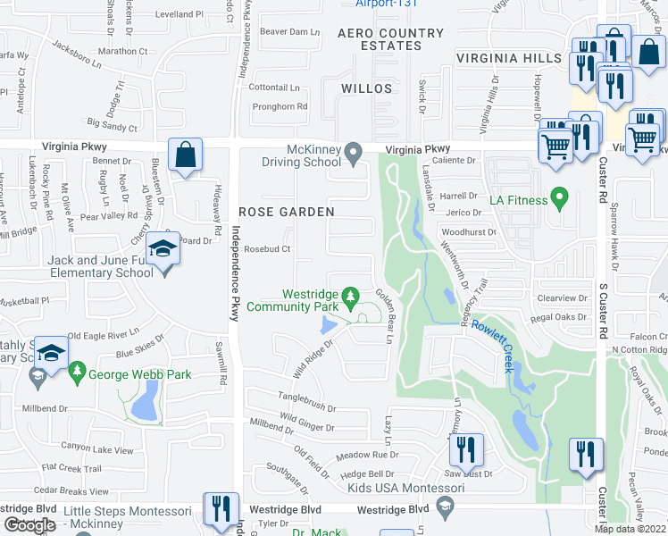 map of restaurants, bars, coffee shops, grocery stores, and more near 9716 Straightaway Drive in McKinney