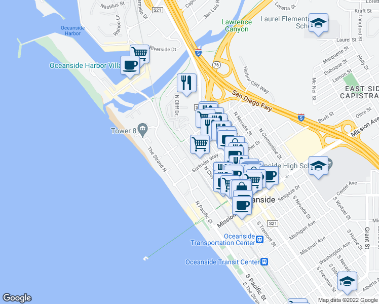 map of restaurants, bars, coffee shops, grocery stores, and more near 753 Sea Cottage Way in Oceanside