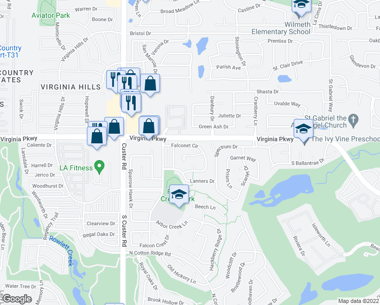 map of restaurants, bars, coffee shops, grocery stores, and more near 8408 Kestrel Court in McKinney