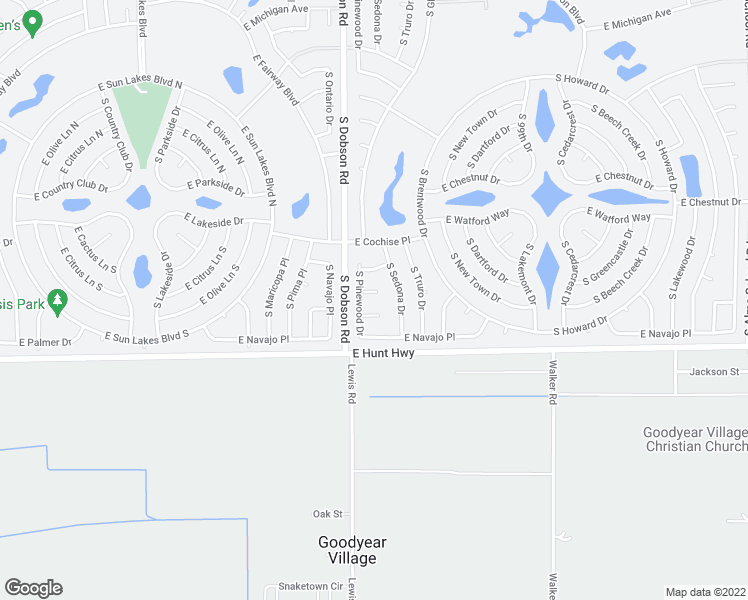 map of restaurants, bars, coffee shops, grocery stores, and more near 9617 East Eddystone Court in Sun Lakes