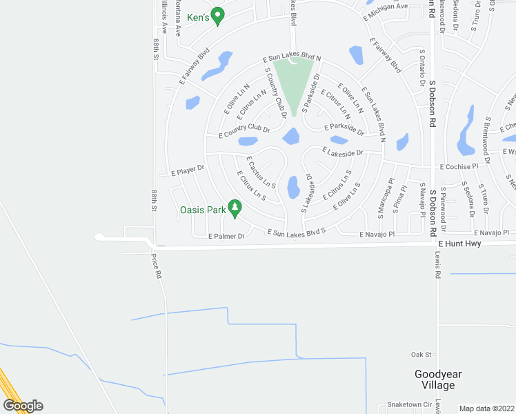 map of restaurants, bars, coffee shops, grocery stores, and more near 9103 East Olive Lane South in Sun Lakes
