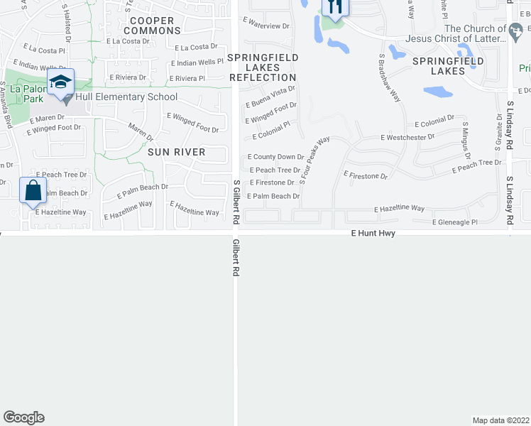 map of restaurants, bars, coffee shops, grocery stores, and more near 3069 East Hazeltine Way in Chandler
