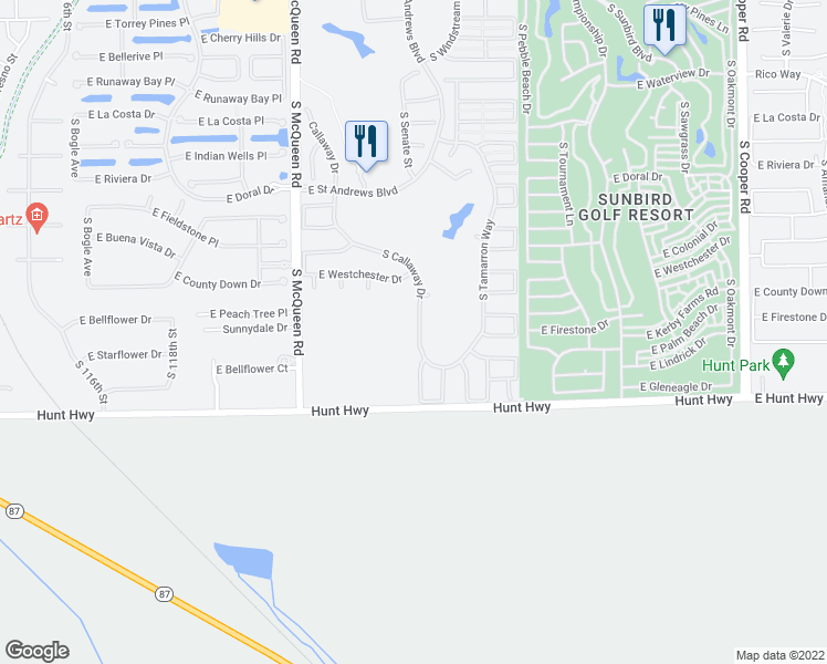 map of restaurants, bars, coffee shops, grocery stores, and more near 6810 South Callaway Drive in Chandler