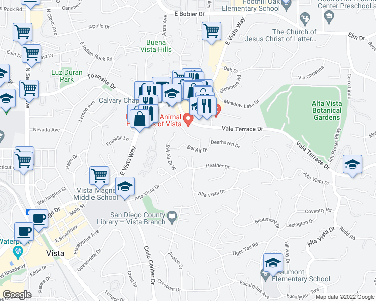 map of restaurants, bars, coffee shops, grocery stores, and more near 981 Bel Air Drive in Vista