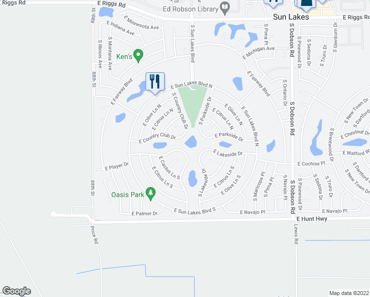 map of restaurants, bars, coffee shops, grocery stores, and more near 9132 East Lakeview Drive in Sun Lakes