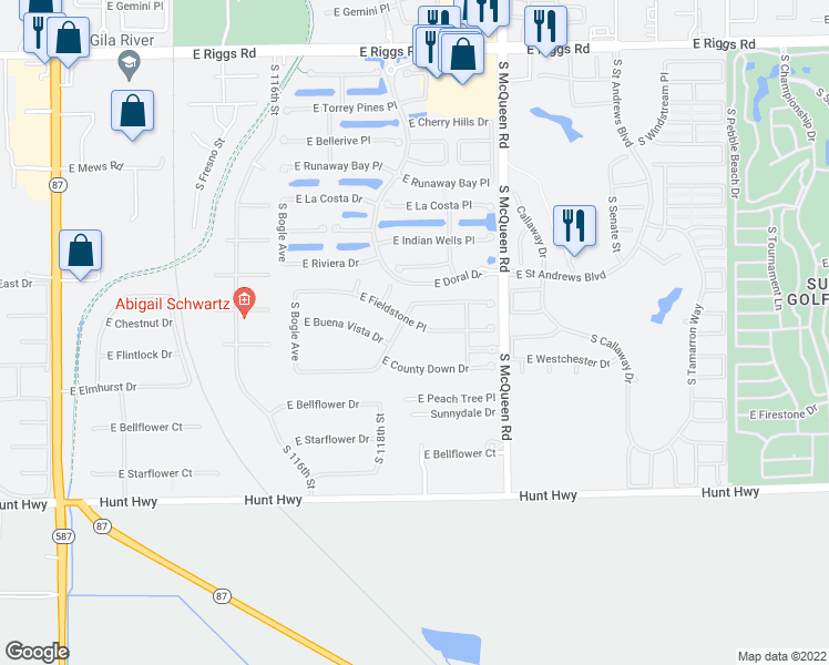 map of restaurants, bars, coffee shops, grocery stores, and more near 813 East Fieldstone Place in Chandler