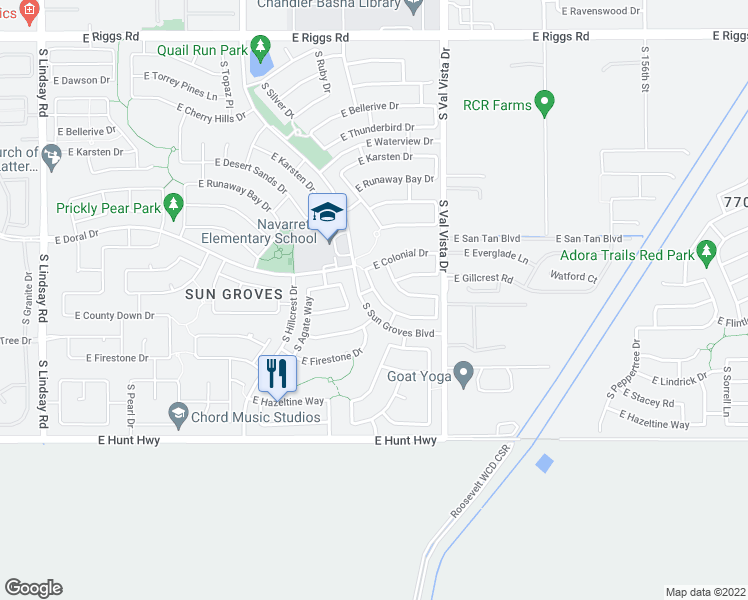 map of restaurants, bars, coffee shops, grocery stores, and more near 6618 South Garnet Way in Chandler