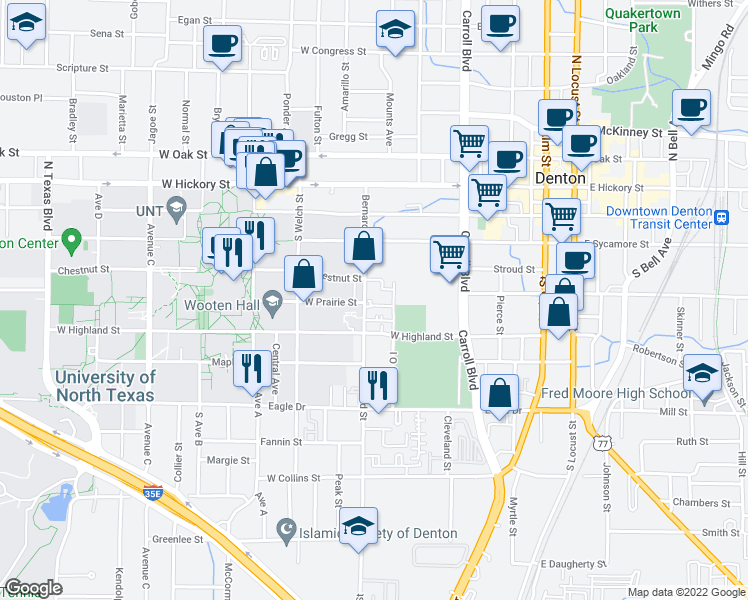map of restaurants, bars, coffee shops, grocery stores, and more near 425 Bernard Street in Denton