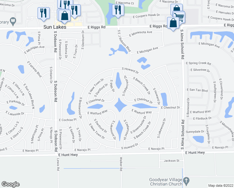 map of restaurants, bars, coffee shops, grocery stores, and more near 26009 South 99th Drive in Chandler