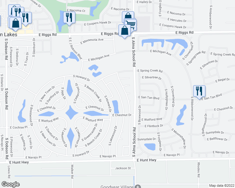 map of restaurants, bars, coffee shops, grocery stores, and more near 25846 South Eastlake Drive in Sun Lakes