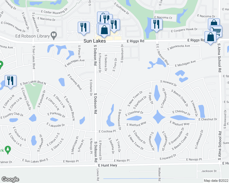 map of restaurants, bars, coffee shops, grocery stores, and more near 9714 East Sherwood Way in Sun Lakes