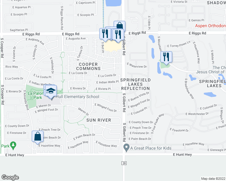 map of restaurants, bars, coffee shops, grocery stores, and more near 2931 East Riviera Place in Chandler