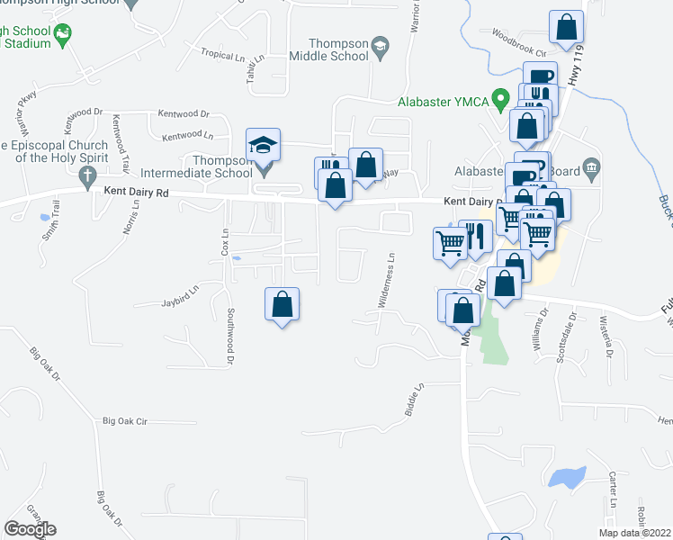 map of restaurants, bars, coffee shops, grocery stores, and more near 196 Jasmine Drive in Alabaster