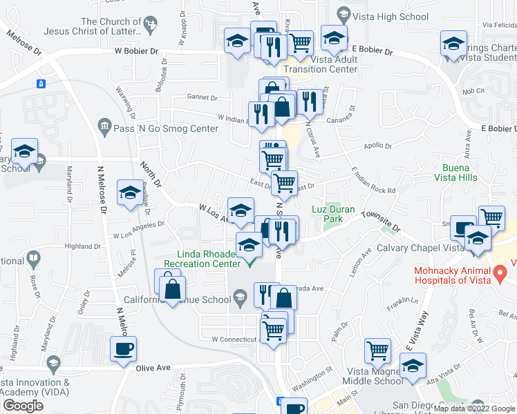 map of restaurants, bars, coffee shops, grocery stores, and more near 161 West Los Angeles Drive in Vista