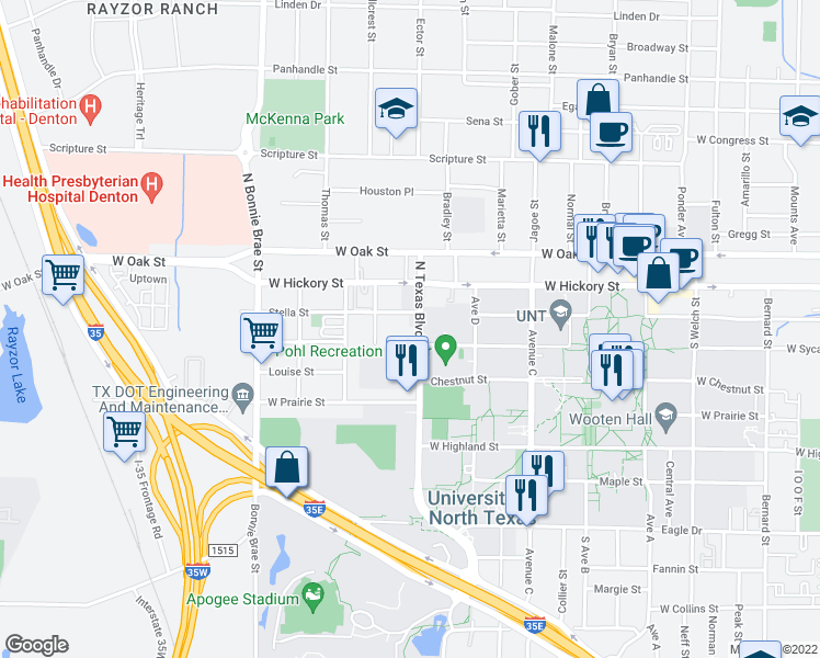 map of restaurants, bars, coffee shops, grocery stores, and more near 214 North Texas Boulevard in Denton
