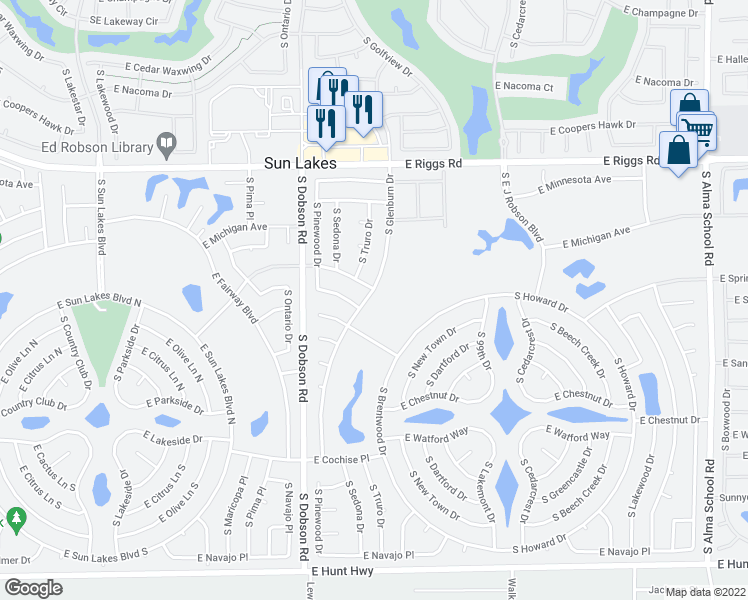 map of restaurants, bars, coffee shops, grocery stores, and more near 25615 South Glenburn Drive in Sun Lakes