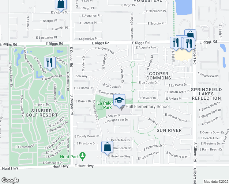 map of restaurants, bars, coffee shops, grocery stores, and more near 2310 East Indian Wells Drive in Chandler
