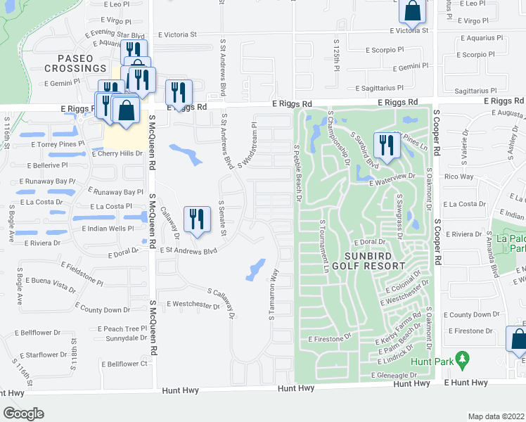 map of restaurants, bars, coffee shops, grocery stores, and more near 1371 East La Costa Drive in Chandler