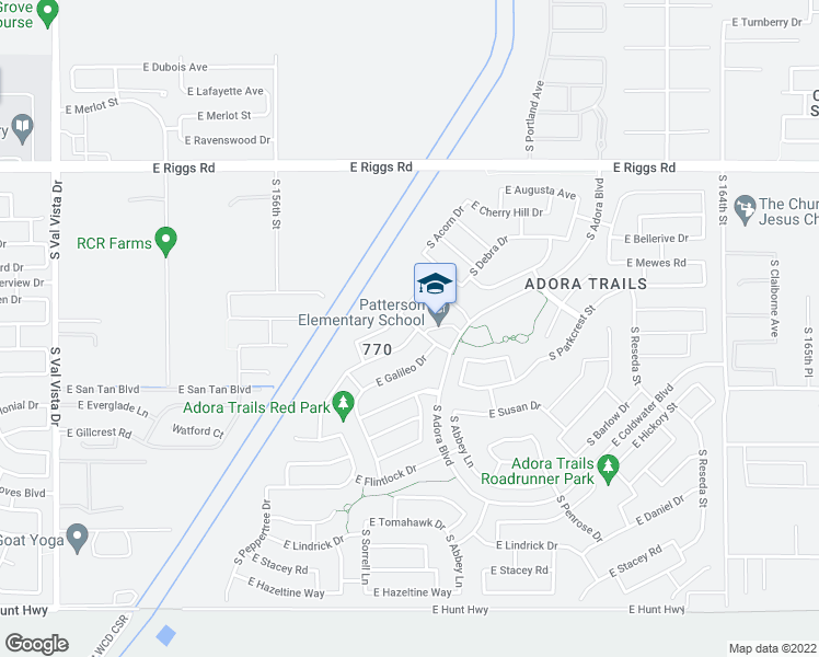 map of restaurants, bars, coffee shops, grocery stores, and more near 2770 East Indian Wells Drive in Gilbert