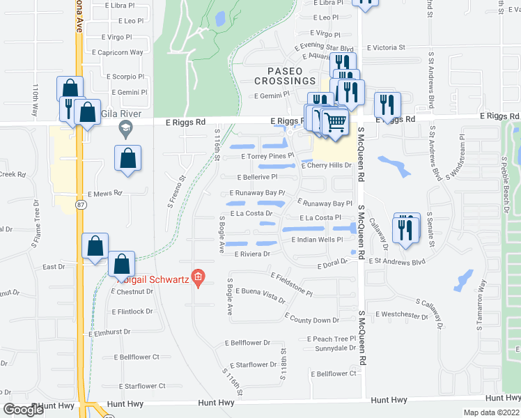 map of restaurants, bars, coffee shops, grocery stores, and more near 698 East La Costa Drive in Chandler