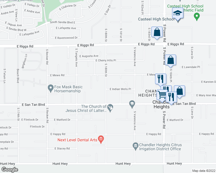 map of restaurants, bars, coffee shops, grocery stores, and more near 25645 South Lemon Avenue in Queen Creek