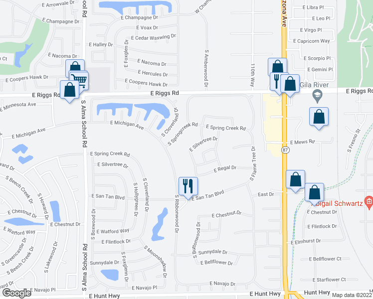 map of restaurants, bars, coffee shops, grocery stores, and more near 10808 East Silvertree Drive in Sun Lakes
