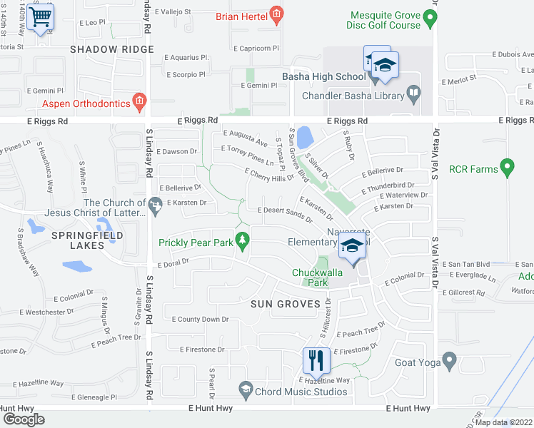 map of restaurants, bars, coffee shops, grocery stores, and more near 4433 East Desert Sands Drive in Chandler