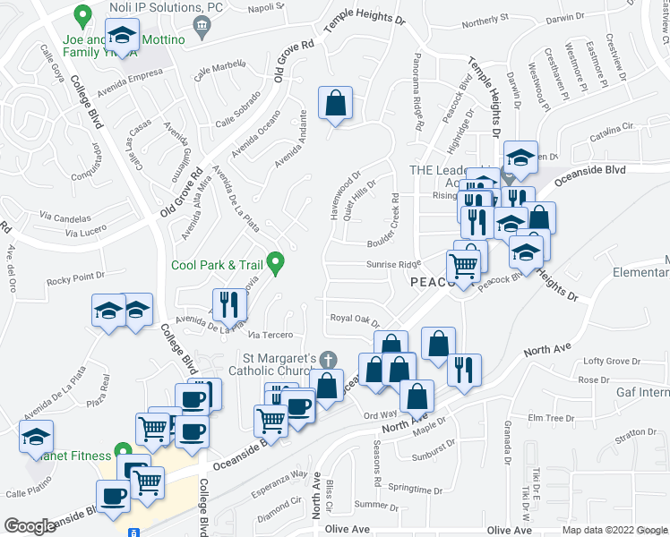 map of restaurants, bars, coffee shops, grocery stores, and more near 4525 Sunrise Ridge in Oceanside