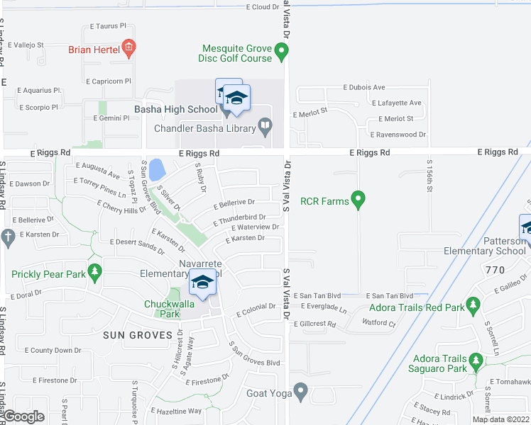 map of restaurants, bars, coffee shops, grocery stores, and more near 4946 East Thunderbird Drive in Chandler