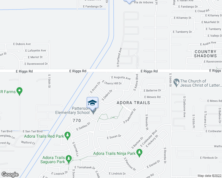 map of restaurants, bars, coffee shops, grocery stores, and more near 7340 South Debra Drive in Gilbert