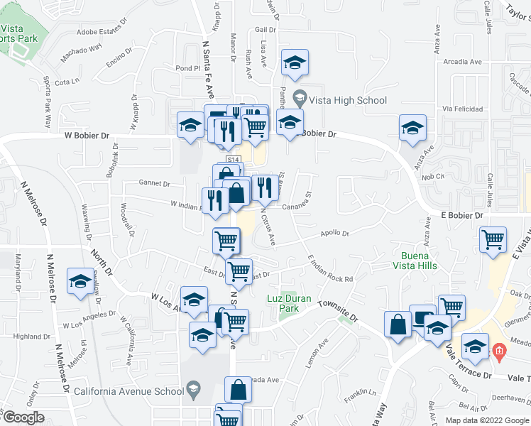 map of restaurants, bars, coffee shops, grocery stores, and more near 1275 North Citrus Avenue in Vista
