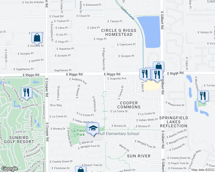 map of restaurants, bars, coffee shops, grocery stores, and more near 6120 South Nash Court in Chandler