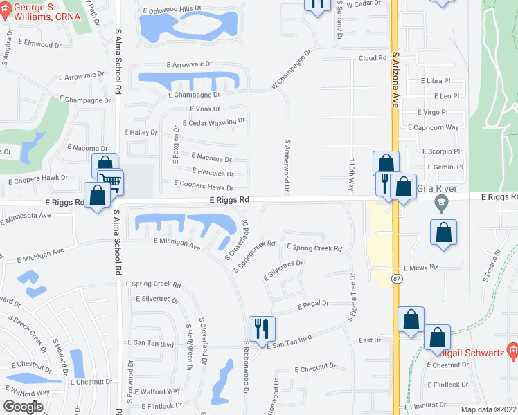 map of restaurants, bars, coffee shops, grocery stores, and more near 25202 South Buttonwood Drive in Sun Lakes