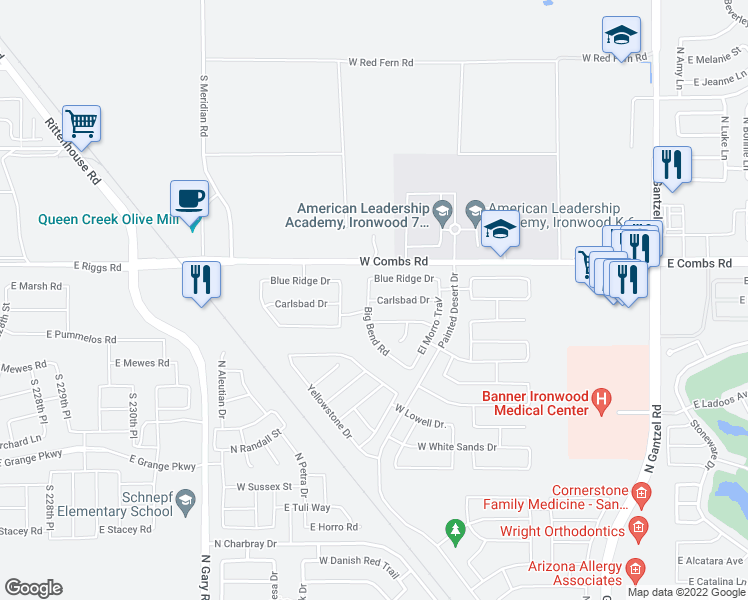 map of restaurants, bars, coffee shops, grocery stores, and more near 681 West Carlsbad Drive in San Tan Valley