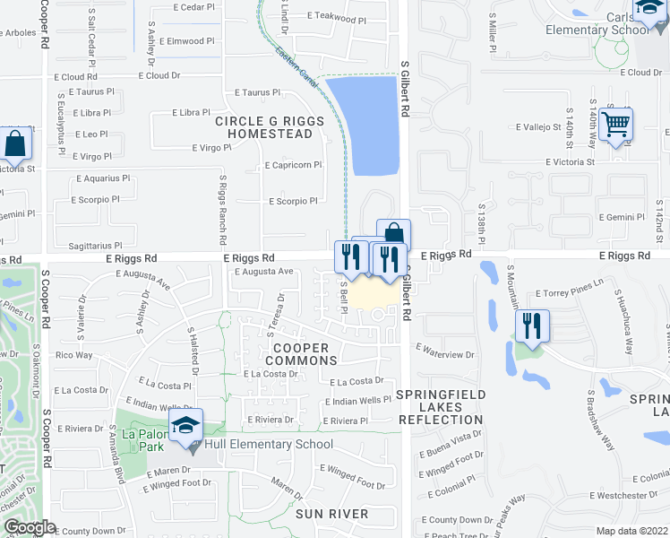 map of restaurants, bars, coffee shops, grocery stores, and more near 2850 East Augusta Avenue in Chandler