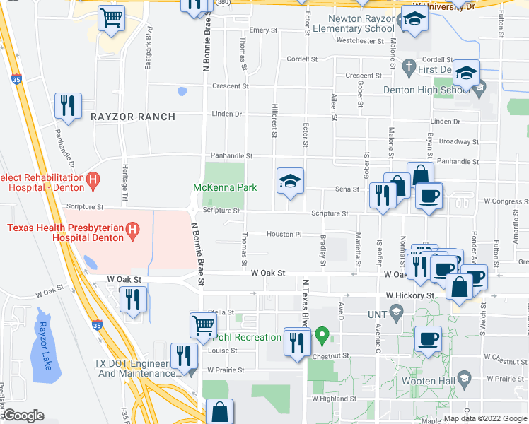 map of restaurants, bars, coffee shops, grocery stores, and more near Scripture Street in Denton